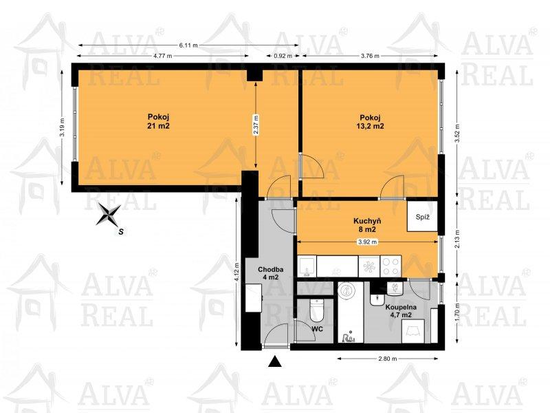 DB Byt 2+1 Velká Opatovice, ul. Nová, vlastní kotel, 2. patro, 59 m2, cihlový dům.