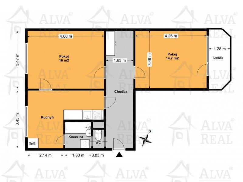 Byt v OV 2+1 v Bystrci, ul. Ondrouškova, 7. patro, celková výměra 58 m2, lodžie. |  | Brno