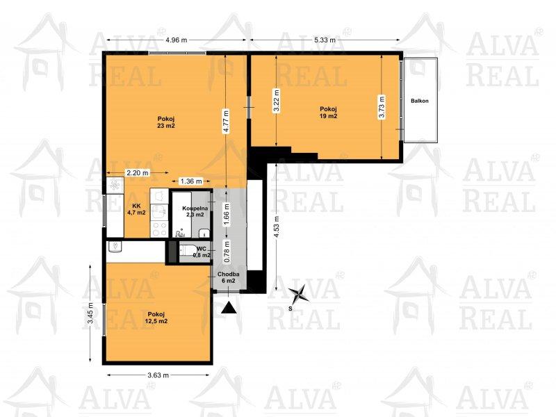 Nabízíme byt 3+kk v Brně, ul. Slatinská v Židenicích pod Bílou horou v 1. patře, celková plocha vč. balkonu a sklepu 79 m2. |  | Brno